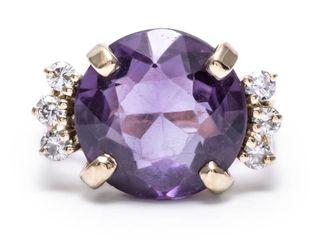6+ carat Alexandrite and .36 Carat Diamond Estate Ring in 14k Yellow Gold; $2900 Appraisal