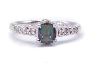 Certified Natural Alexandrite and Diamond Estate Ring in 14k White Gold; $5850