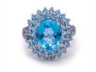 Stunning 4.46 Carat Fine Topaz Statement Estate Ring in 14k White Gold; $1850 Appraisal