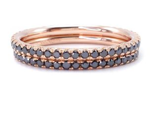 (2) Upscale Eternity Black Diamond Estate Stacking Rings in 18k Rose Gold