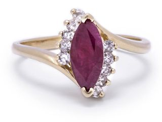 Ruby and Diamond Estate Ring in 14k Yellow Gold; $2750