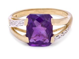 Exquisite Amethyst and Diamond Estate Ring in 14k Yellow Gold; $1999