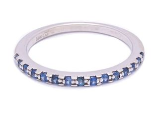 Beautiful Natural Sapphire and Diamond Estate Ring in 14k White Gold; $1999