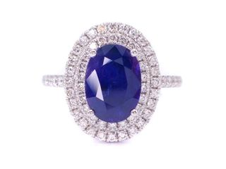 Rare & Gorgeous 3.24 Royal Blue Oval Sapphire (No Heat) Halo Ring with Diamonds in 18k White Gold; $26,250
