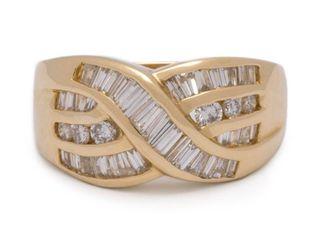 Impressive 3 Carat Baguette Diamond Estate Ring in 14k Yellow Gold; $7800 Appraisal