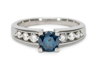 Brand New, Striking 1.03 Carat Blue and White Diamond Ring in Platinum; $5000 Appraisal