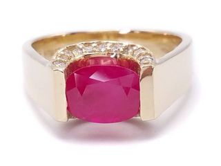 Modern 2.09 Carat Ruby and Diamond Estate Ring in 14k Yellow Gold; $6275