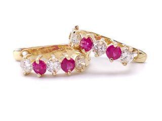 Red Ruby and Diamond Estate Earrings in 14k Yellow Gold; $3450