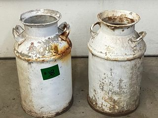 (2) Antique Steel Milk Cans