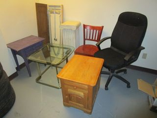 ASSRTD. FURNITURE, INCLUDING STOW-AWAY IRONING BOARD, SIDE TABLES, PEDESTAL STAND, CHAIRS, MORE