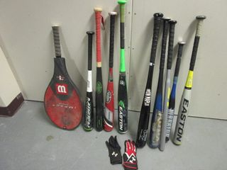 YOUTH BASEBALL BATS, EASTON PORTABLE BASEBALL NET, WILSON PETE SAMPRAS TENNIS RACKET
