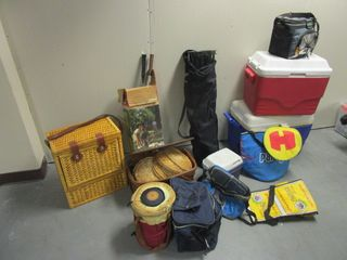 PICNIC BASKETS, BADMINTON RACKETS, COOLERS, PORTABLE CAMP CHAIR, MORE