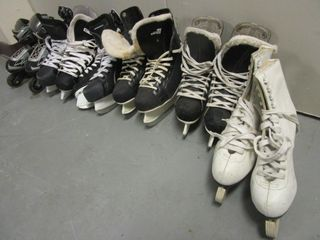 ICE SKATES, YOUTH SIZES, ROLLER BLADES, WOMEN'S FIGURE SKATES