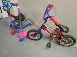 MAGNA CHILD BICYCLE, MARVEL SPIDER-MAN SCOOTER, RAZOR KIXI SCOOTER, BELL HELMETS, POGO STICK