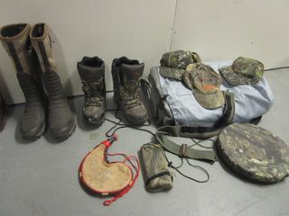 REAL-TREE, WINCHESTER WATERPROOF CAMO HUNTING BOOTS, AIR MATTRESS, HUNTING CARRYING CASE, MORE