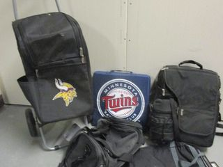 MINNESOTA VIKINGS PICNIC-TIME CART AND INSULATED PICNIC BACKPACK, MN TWINS SEAT CUSHION, MORE