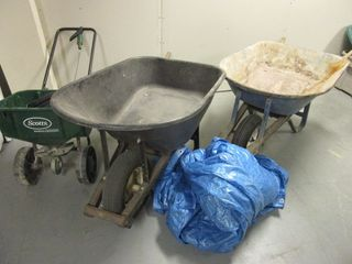 WHEELBARROWS, SCOTS SPEEDY QREEN FERTILIZER/GRASS SEED SPREADER, 50' SOAKER HOSE, TARP