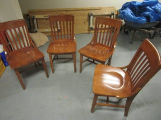 SCHOOL HOUSE-STYLE SIDE CHAIRS, CRAFTED OF SOLID WOOD, WITH CONTOURED SEATS