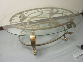 COFFEE TABLE, WITH DECORATIVE METAL BASE AND GLASS TOP