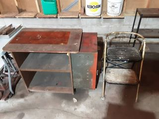 Rolling Work Bench With Side Cabinet & Step Stool