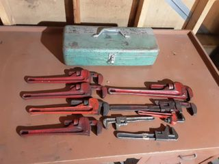 Tool Box With 9-Pipe Wrenches