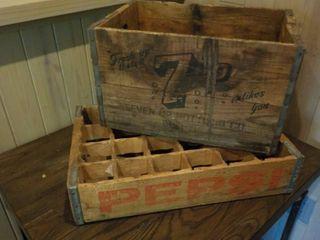 Pepsi & 7-UP Vintage Wood Crates...