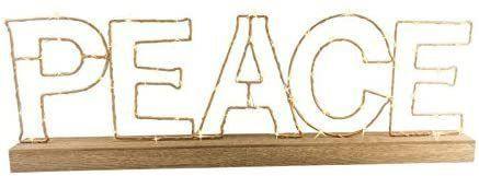 Led PEACE light with wooden base and gold metal