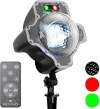Night Stars LL03-SRG-R Premium Landscape Lighting Snow Effect w/Red & Green Laser, Black