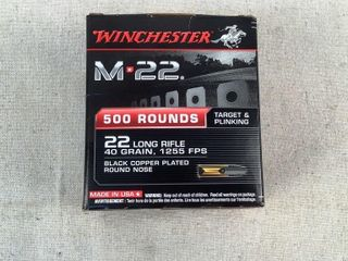 500 ct Winchester 40 gr .22 Long Rifle Round Nose
