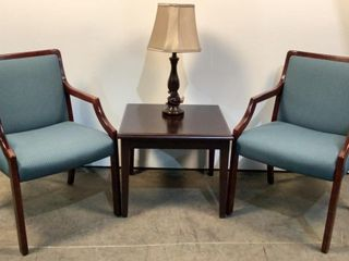 End Table, Lamp, & Chairs