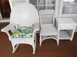 Lot # 4241 - White wicker open arm rocker, wicker