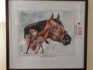 Lot # 4268 - Framed print of Seabiscuit artist
