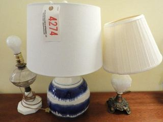 Lot # 4274 - (3) Lamps: pattern glass to milk