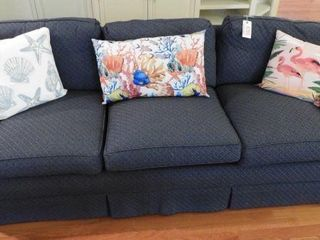 Lot # 4280 - Three cushion blue upholstered sofa