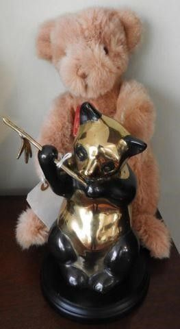 Lot # 4147 - Brass Panda bear statue 9? and Gund