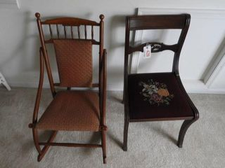 Lot # 4299 - Mahogany needlepoint side chair