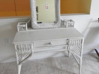 Lot # 4300 - White wicker single drawer desk/