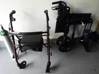 Lot # 4315 - Medline wheel chair, walking cart