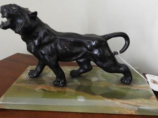 Lot # 4152 - Cast metal black panther statue