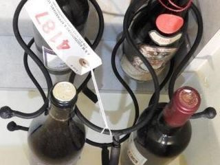 Lot # 4187 - Contemporary wine rack and bottles