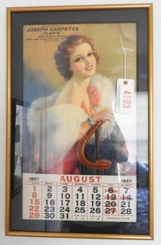 Lot # 4193 - 1937 Framed Advertising Calendar