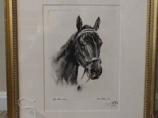 Lot # 4206 - Framed Black and white etching of