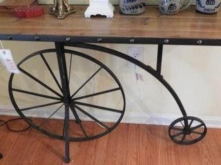 Lot # 4230 - Figural wheel wagon themed console