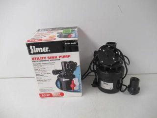 As Is  Simer 2935B 1 3 HP Utility Sink Sump Pump