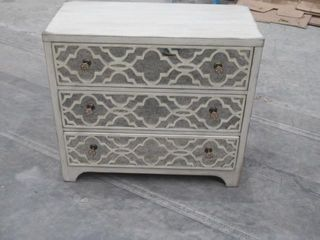 As Is  Sanctuary 3 Drawer Mirrored Accent Chest