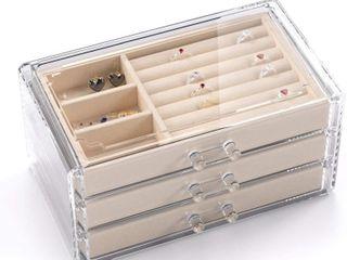 Keyzone Jewelry Box for Women with 3 Drawers