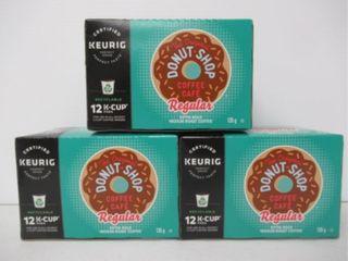 (3) K-Cup Original Donut Shop Coffee 12-Pk Medium