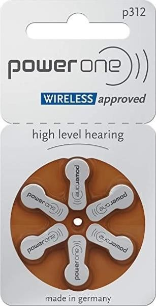 Power One Size 312 Zinc Air Hearing Aid Batteries