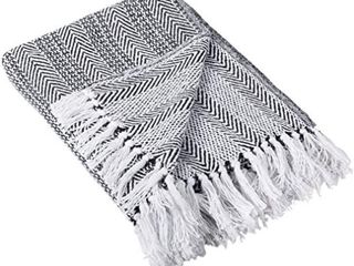 DII Coastal Herringbone Stripe Woven Throw  50x60