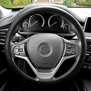 FH Group FH3001BlACK Black Steering Wheel Cover